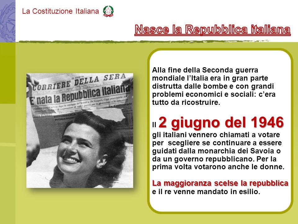 La Costituzione Italiana Alla fine della Seconda guerra mondiale lItalia era in gran parte distrutta dalle bombe e con grandi problemi economici e soc
