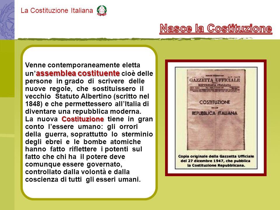 La Costituzione Italiana Venne contemporaneamente eletta assemblea costituente un assemblea costituente cioè delle persone in grado di scrivere delle