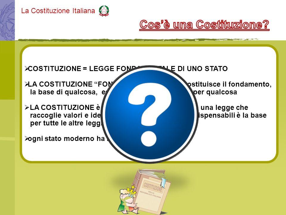 COSTITUZIONE = LEGGE FONDAMENTALE DI UNO STATO LA COSTITUZIONE FONDAMENTALE = che costituisce il fondamento, la base di qualcosa, essenziale, indispen