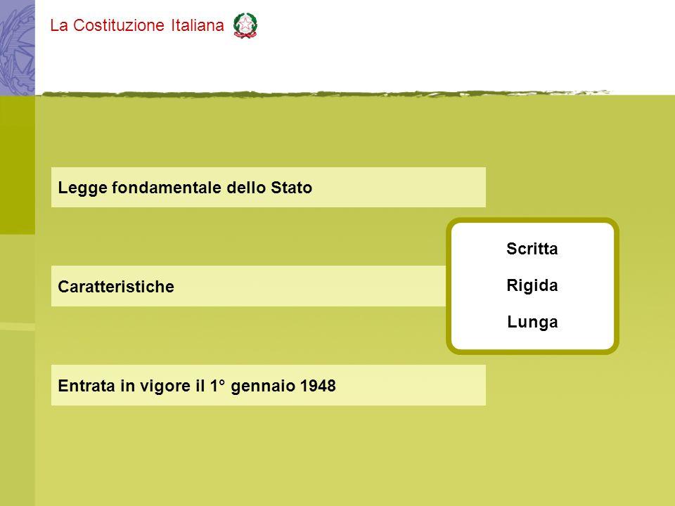 La Costituzione Italiana Caratteristiche Legge fondamentale dello Stato Entrata in vigore il 1° gennaio 1948 Scritta Rigida Lunga