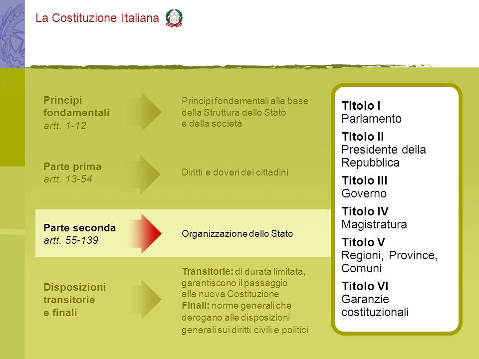 La Costituzione Italiana Principi fondamentali artt. 1-12 Principi fondamentali alla base della Struttura dello Stato e della società Parte seconda ar