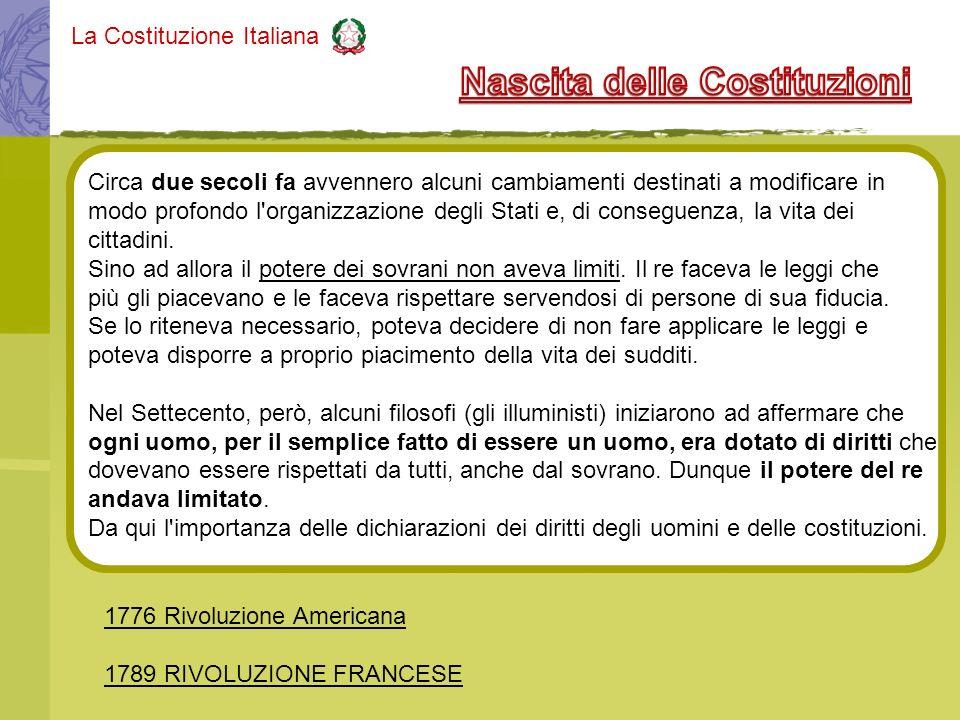 La Costituzione Italiana Circa due secoli fa avvennero alcuni cambiamenti destinati a modificare in modo profondo l'organizzazione degli Stati e, di c