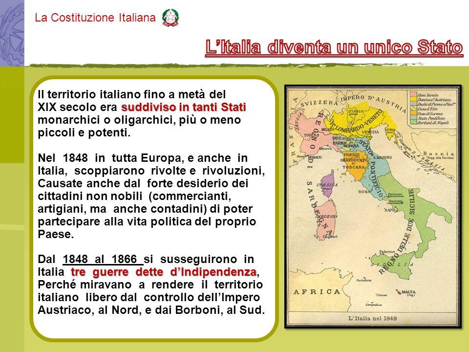 La Costituzione Italiana 1861 Regno dItalia Nel 1861 venne fondato il Regno dItalia, ma il territorio italiano sarà unificato solo alla fine della III Guerra dIndipendenza e avrà come capitale Roma.