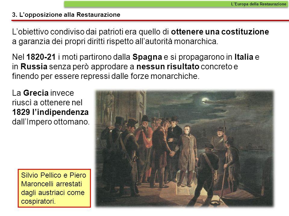 Lobiettivo condiviso dai patrioti era quello di ottenere una costituzione a garanzia dei propri diritti rispetto allautorità monarchica. Nel 1820-21 i