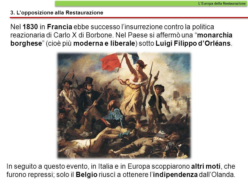 Nel 1830 in Francia ebbe successo linsurrezione contro la politica reazionaria di Carlo X di Borbone. Nel Paese si affermò una monarchia borghese (cio