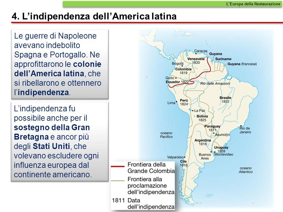 Le guerre di Napoleone avevano indebolito Spagna e Portogallo. Ne approfittarono le colonie dellAmerica latina, che si ribellarono e ottennero lindipe