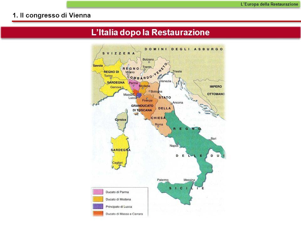 LEuropa della Restaurazione 1. Il congresso di Vienna LItalia dopo la Restaurazione