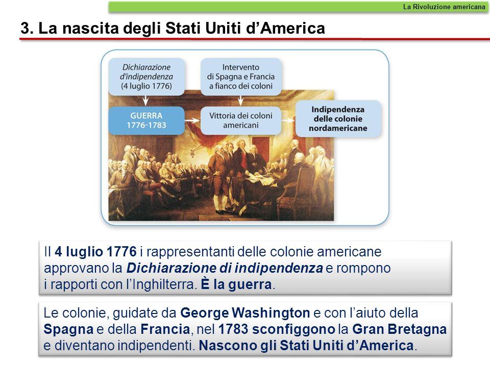 Il 4 luglio 1776 i rappresentanti delle colonie americane approvano la Dichiarazione di indipendenza e rompono i rapporti con lInghilterra. È la guerr