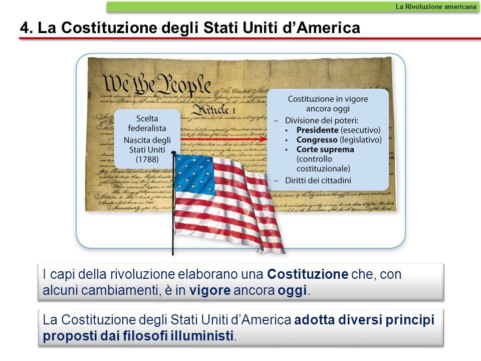 I capi della rivoluzione elaborano una Costituzione che, con alcuni cambiamenti, è in vigore ancora oggi. La Costituzione degli Stati Uniti dAmerica a