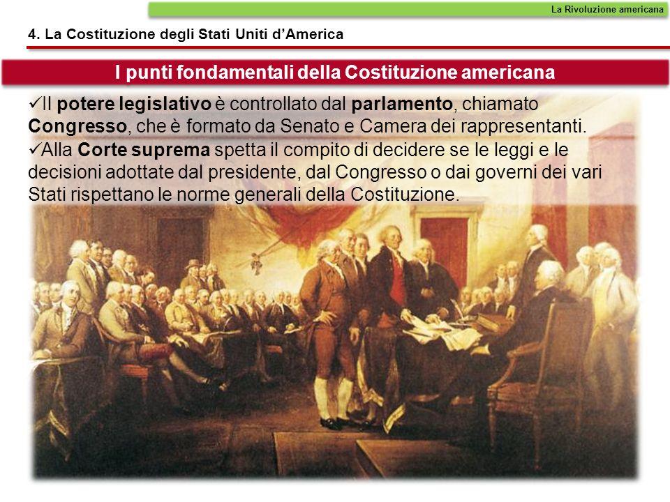 4. La Costituzione degli Stati Uniti dAmerica I punti fondamentali della Costituzione americana Il potere legislativo è controllato dal parlamento, ch