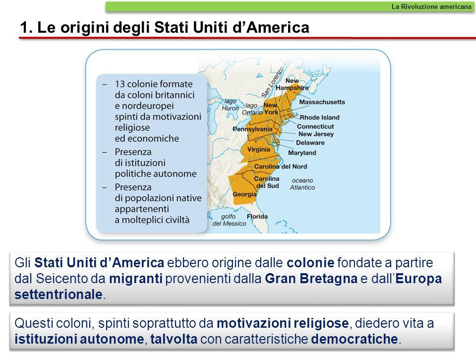 Gli Stati Uniti dAmerica ebbero origine dalle colonie fondate a partire dal Seicento da migranti provenienti dalla Gran Bretagna e dallEuropa settentr