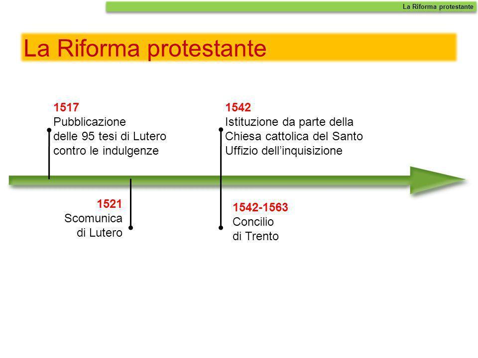 La Riforma protestante 1517 Pubblicazione delle 95 tesi di Lutero contro le indulgenze 1521 Scomunica di Lutero La Riforma protestante 1542 Istituzion