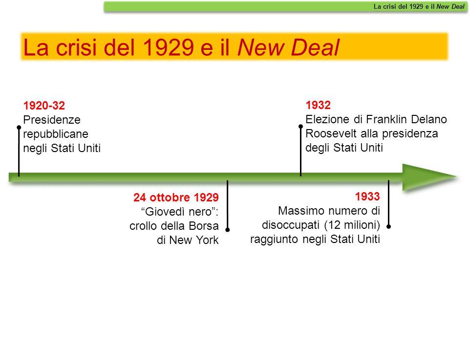 La crisi del 1929 e il New Deal 1920-32 Presidenze repubblicane negli Stati Uniti 24 ottobre 1929 Giovedì nero: crollo della Borsa di New York 1933 Ma