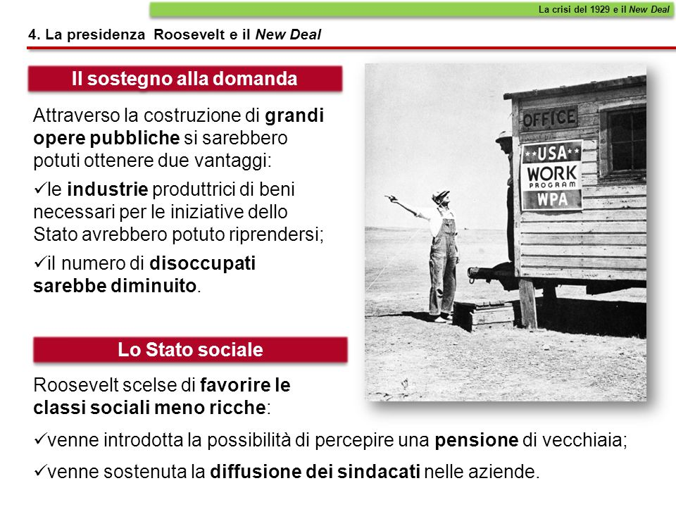 4. La presidenza Roosevelt e il New Deal La crisi del 1929 e il New Deal Il sostegno alla domanda Lo Stato sociale Attraverso la costruzione di grandi