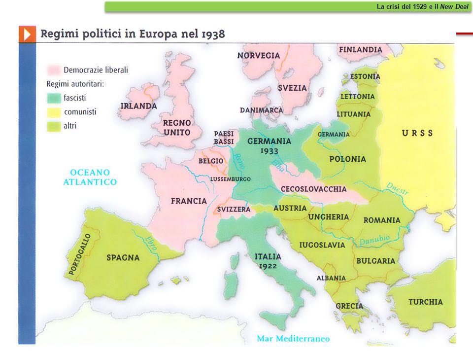 NellEuropa degli anni 30, prevalsero i regimi totalitari La crisi del 1929 e il New Deal MOLTI CREDEVANO CHE LO STATO LIBERALE NON FOSSE SUFFICIENTEME