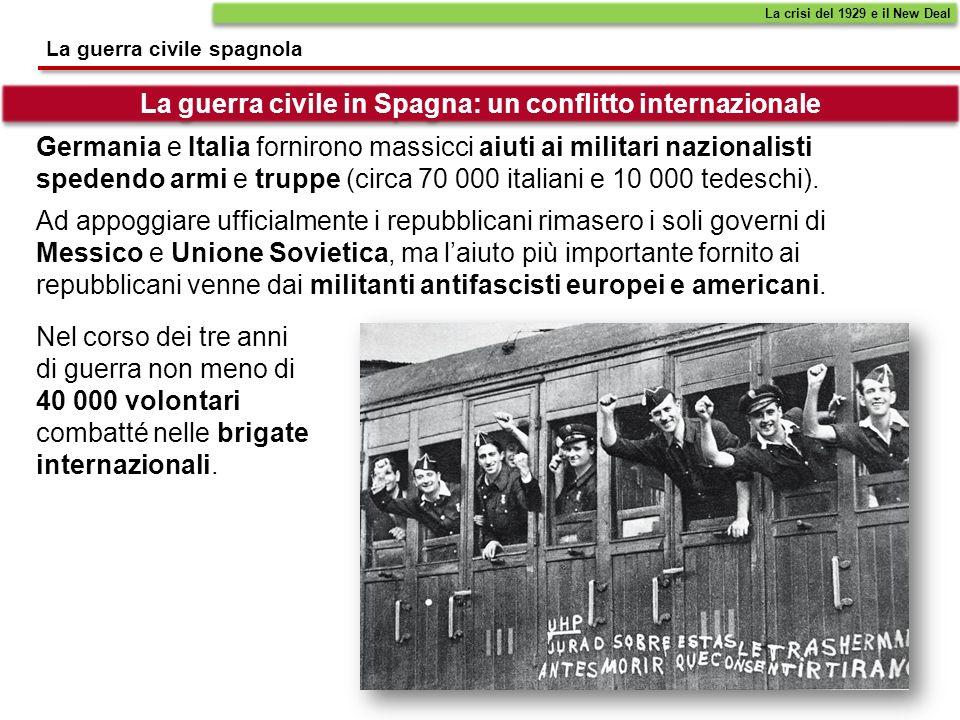 La guerra civile in Spagna: un conflitto internazionale La guerra civile spagnola Ad appoggiare ufficialmente i repubblicani rimasero i soli governi d