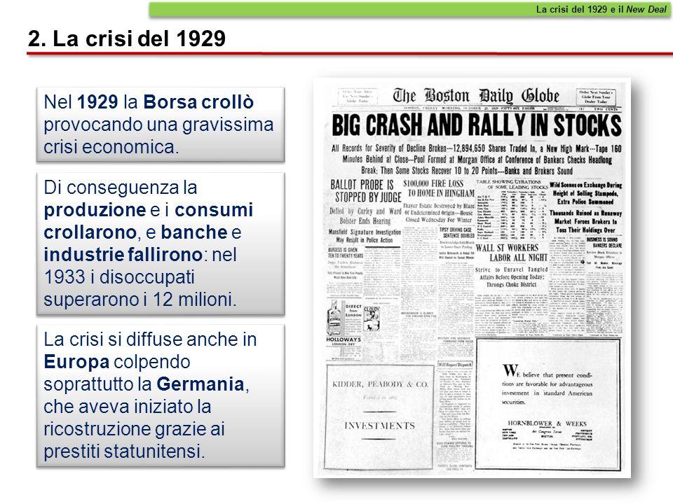 Il 24 ottobre 1929 cominciò la crisi della Borsa di New York: in pochi mesi il valore delle azioni che vi si scambiavano si ridusse enormemente.