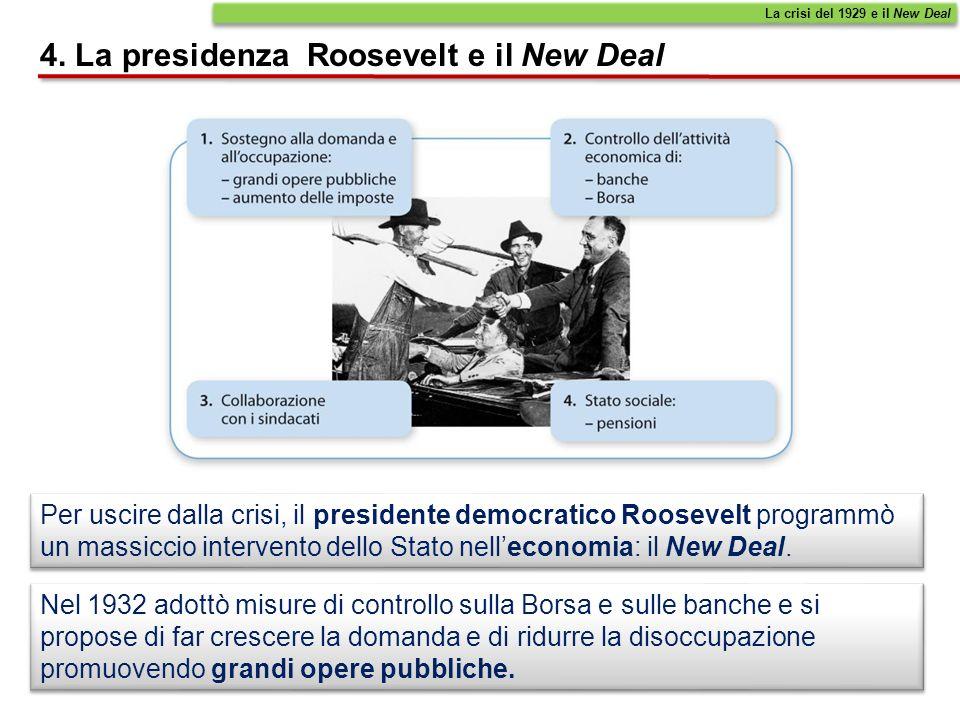 Per uscire dalla crisi, il presidente democratico Roosevelt programmò un massiccio intervento dello Stato nelleconomia: il New Deal. 4. La presidenza