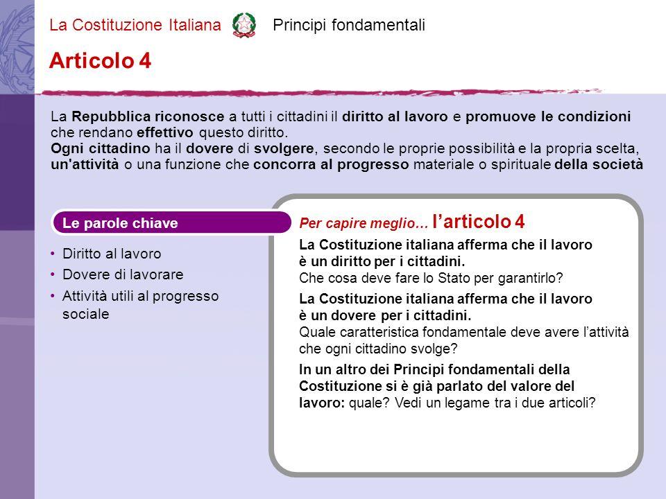La Costituzione Italiana Principi fondamentali La Repubblica riconosce a tutti i cittadini il diritto al lavoro e promuove le condizioni che rendano effettivo questo diritto.