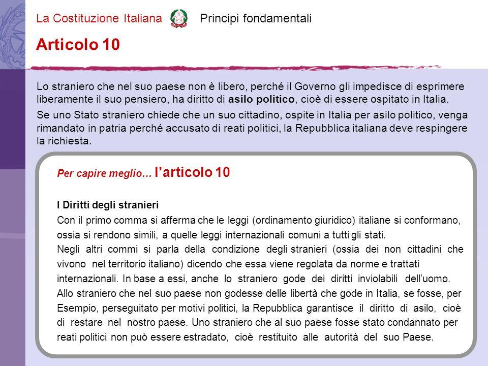 La Costituzione Italiana Principi fondamentali Lo straniero che nel suo paese non è libero, perché il Governo gli impedisce di esprimere liberamente il suo pensiero, ha diritto di asilo politico, cioè di essere ospitato in Italia.