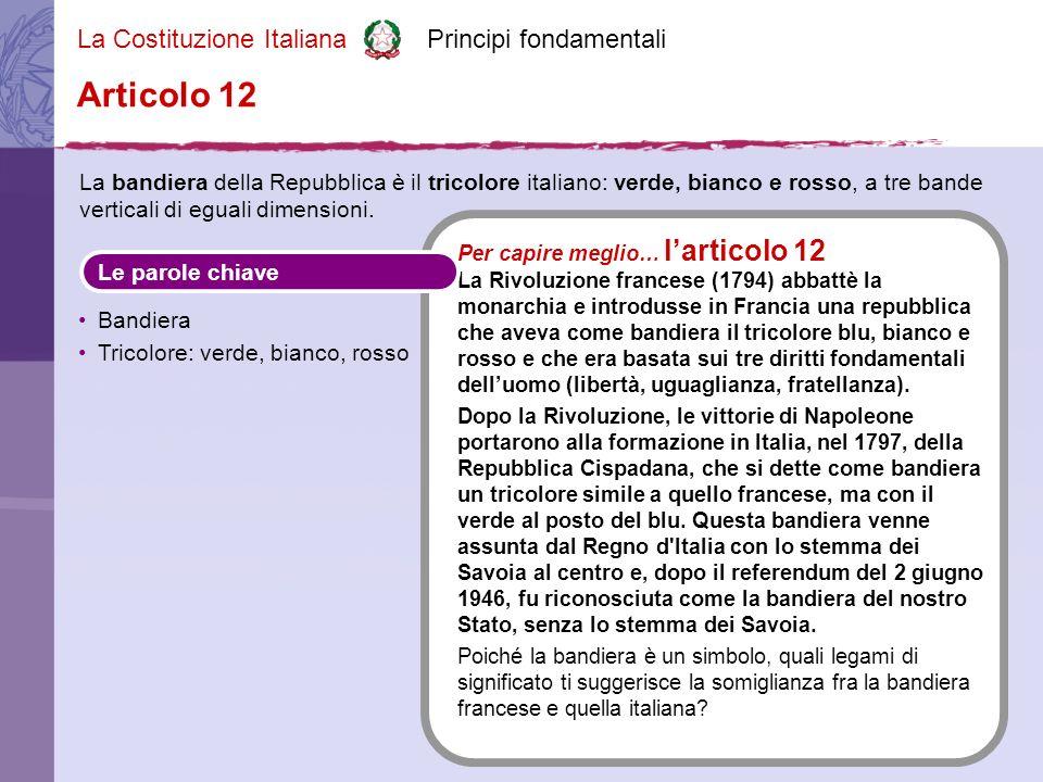 La Costituzione Italiana Principi fondamentali La bandiera della Repubblica è il tricolore italiano: verde, bianco e rosso, a tre bande verticali di uguali dimensioni.