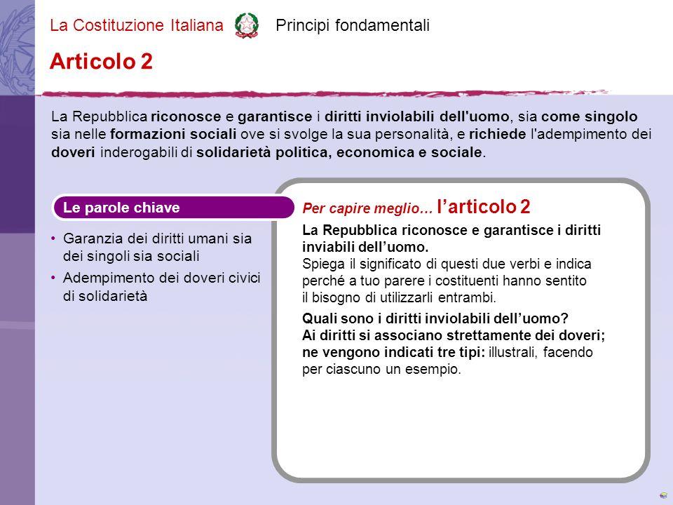 La Costituzione Italiana Principi fondamentali La Repubblica difende i diritti di tutti i cittadini, da soli o organizzati insieme ad altri, e chiede loro di sentire il dovere di vivere bene insieme.