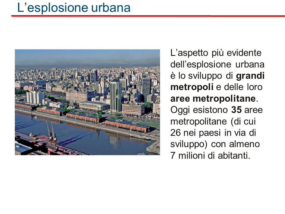Laspetto più evidente dellesplosione urbana è lo sviluppo di grandi metropoli e delle loro aree metropolitane. Oggi esistono 35 aree metropolitane (di