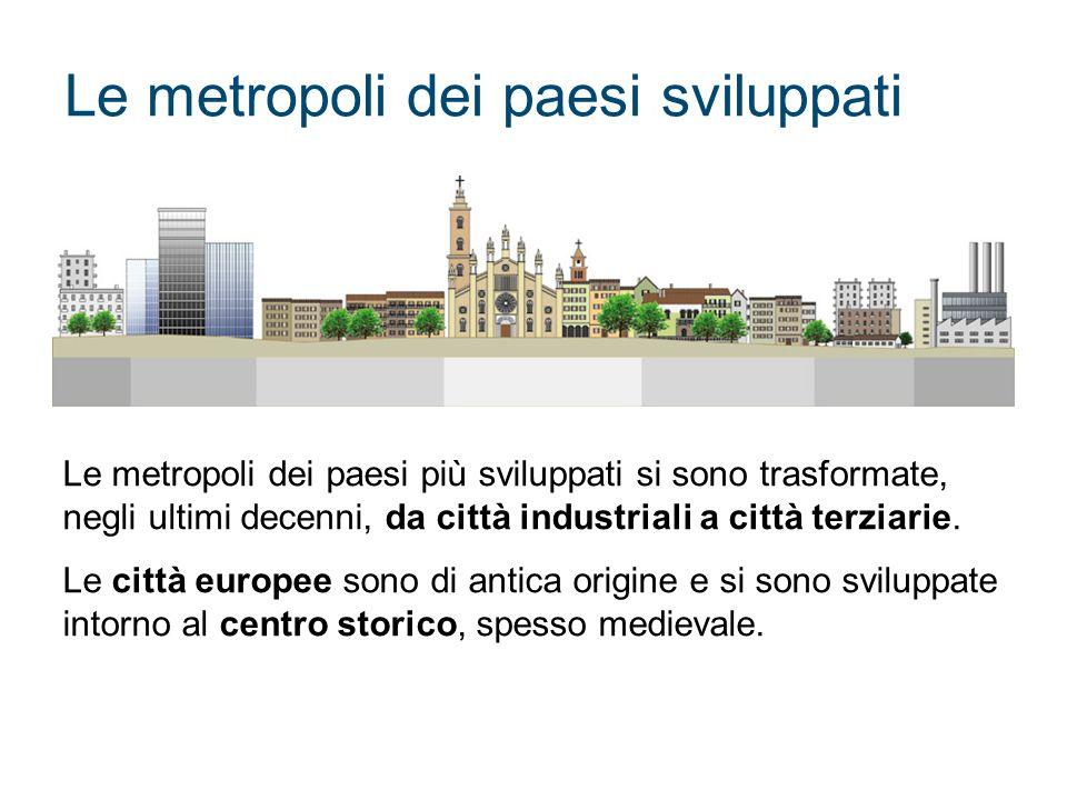 Le metropoli dei paesi sviluppati Le metropoli dei paesi più sviluppati si sono trasformate, negli ultimi decenni, da città industriali a città terzia