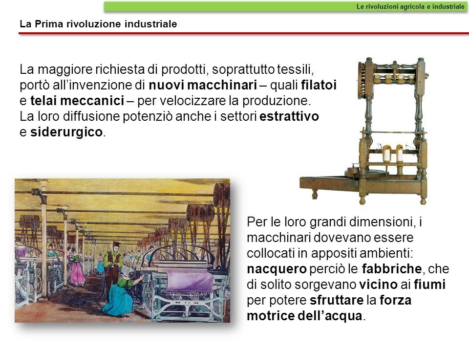 La maggiore richiesta di prodotti, soprattutto tessili, portò allinvenzione di nuovi macchinari – quali filatoi e telai meccanici – per velocizzare la