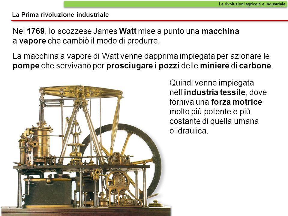 La macchina a vapore di Watt venne dapprima impiegata per azionare le pompe che servivano per prosciugare i pozzi delle miniere di carbone. Nel 1769,