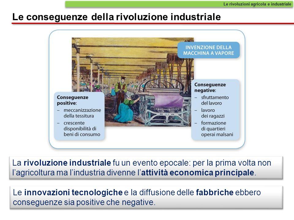 La rivoluzione industriale fu un evento epocale: per la prima volta non lagricoltura ma lindustria divenne lattività economica principale. Le innovazi