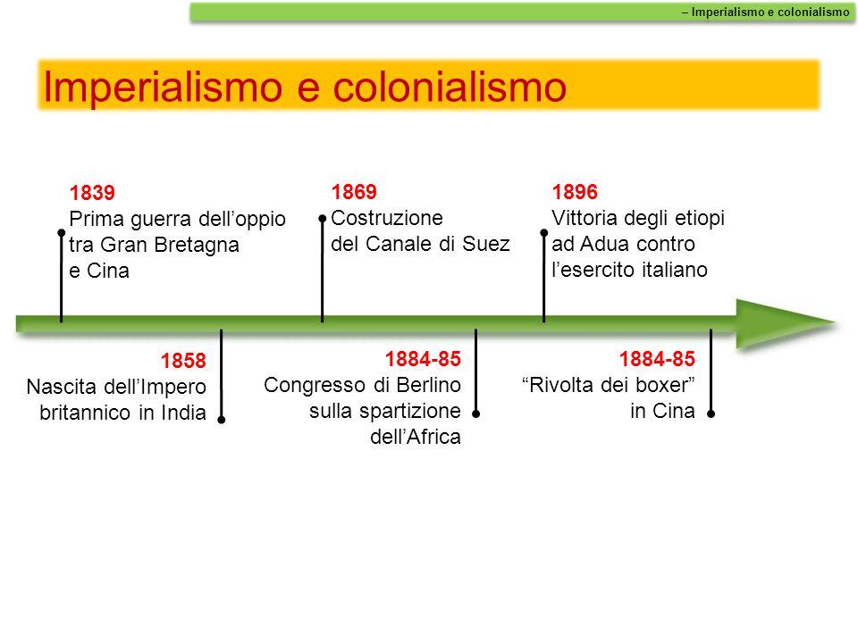 Imperialismo e colonialismo 1839 Prima guerra delloppio tra Gran Bretagna e Cina 1858 Nascita dellImpero britannico in India 1884-85 Congresso di Berl