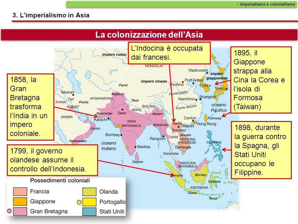 1799, il governo olandese assume il controllo dellIndonesia. 1858, la Gran Bretagna trasforma lIndia in un impero coloniale. 1898, durante la guerra c
