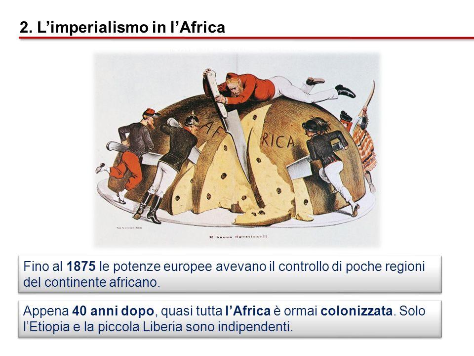 Appena 40 anni dopo, quasi tutta lAfrica è ormai colonizzata. Solo lEtiopia e la piccola Liberia sono indipendenti. Fino al 1875 le potenze europee av