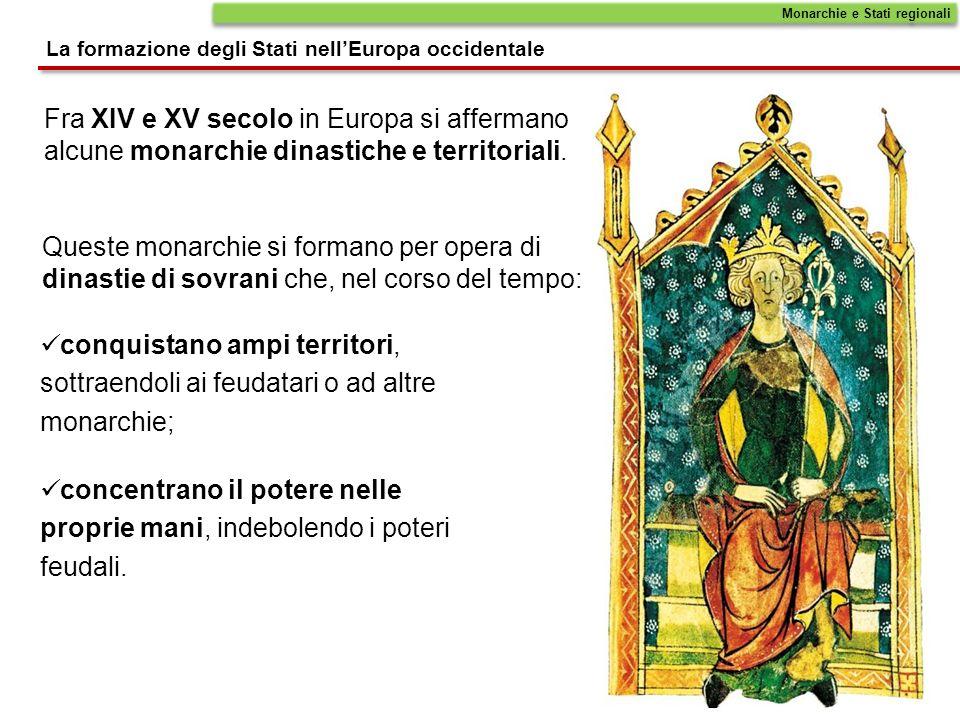 Fra XIV e XV secolo in Europa si affermano alcune monarchie dinastiche e territoriali. Queste monarchie si formano per opera di dinastie di sovrani ch