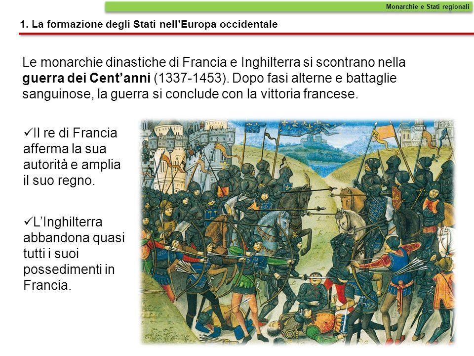 Le monarchie dinastiche di Francia e Inghilterra si scontrano nella guerra dei Centanni (1337-1453). Dopo fasi alterne e battaglie sanguinose, la guer