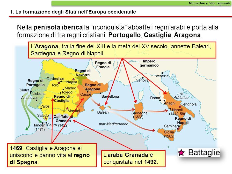 Nella penisola iberica la riconquista abbatte i regni arabi e porta alla formazione di tre regni cristiani: Portogallo, Castiglia, Aragona. 1469: Cast