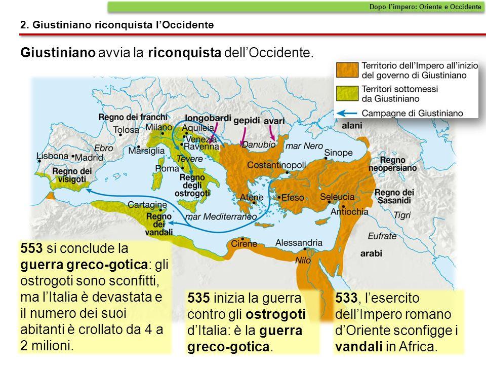 Giustiniano avvia la riconquista dellOccidente.Dopo limpero: Oriente e Occidente 2.