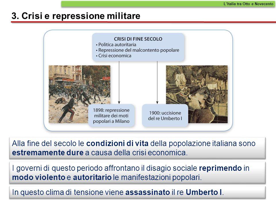 Alla fine del secolo le condizioni di vita della popolazione italiana sono estremamente dure a causa della crisi economica. I governi di questo period
