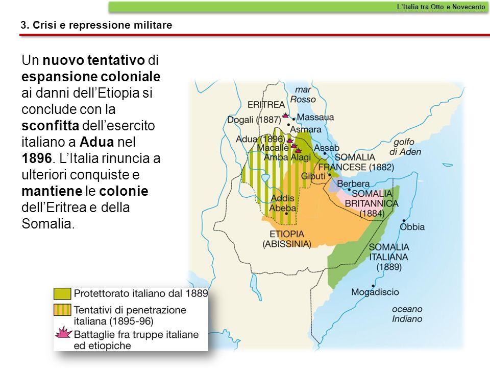 Un nuovo tentativo di espansione coloniale ai danni dellEtiopia si conclude con la sconfitta dellesercito italiano a Adua nel 1896. LItalia rinuncia a