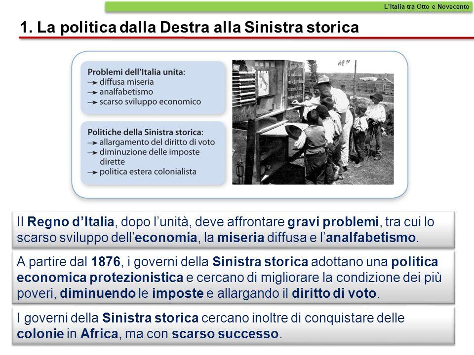 La Destra, favorì il libero scambio, lindustrializzazione e risanò il bilancio dello Stato.