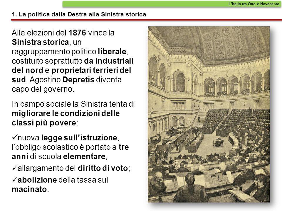 Alle elezioni del 1876 vince la Sinistra storica, un raggruppamento politico liberale, costituito soprattutto da industriali del nord e proprietari te