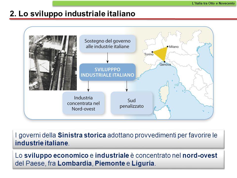 Tra la fine dellOttocento e il primo decennio del Novecento, la Sinistra adotta una serie di provvedimenti, tra i cui i dazi doganali sulle merci importate dallestero, per sostenere le industrie del nord.
