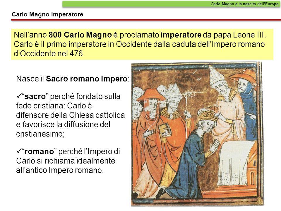 Nellanno 800 Carlo Magno è proclamato imperatore da papa Leone III. Carlo è il primo imperatore in Occidente dalla caduta dellImpero romano dOccidente