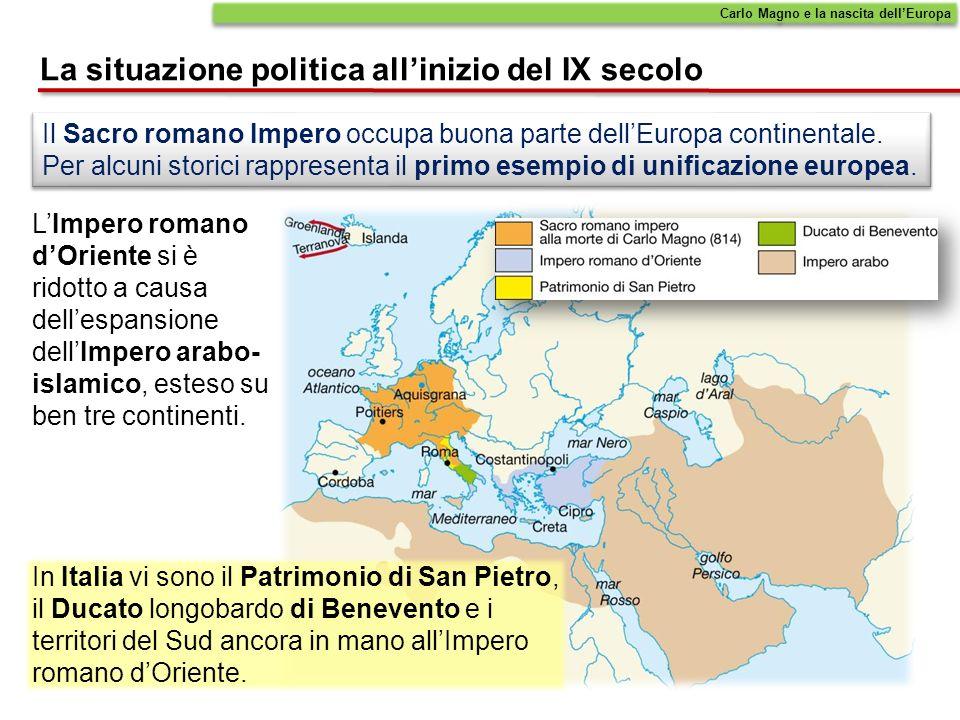 Il Sacro romano Impero occupa buona parte dellEuropa continentale. Per alcuni storici rappresenta il primo esempio di unificazione europea. In Italia
