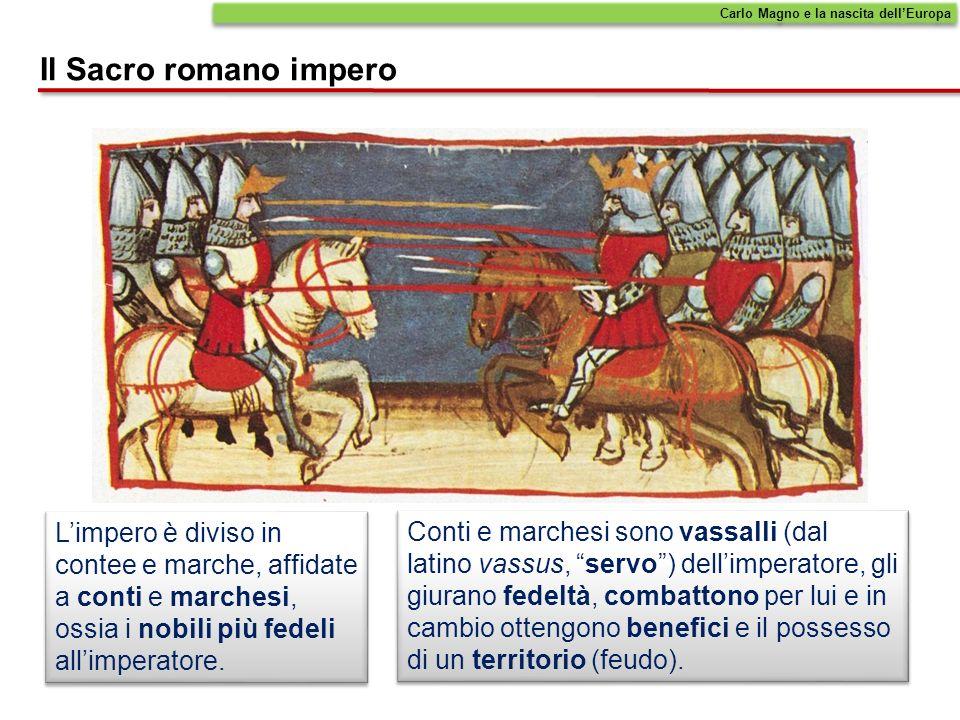 Limpero è diviso in contee e marche, affidate a conti e marchesi, ossia i nobili più fedeli allimperatore. Conti e marchesi sono vassalli (dal latino