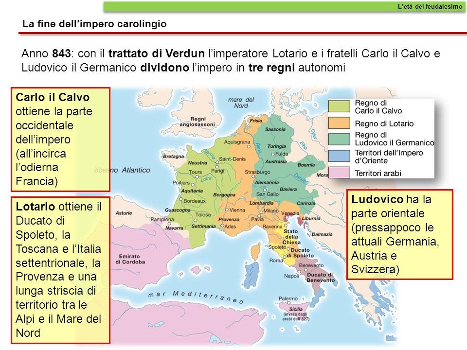Anno 843: con il trattato di Verdun limperatore Lotario e i fratelli Carlo il Calvo e Ludovico il Germanico dividono limpero in tre regni autonomi Let