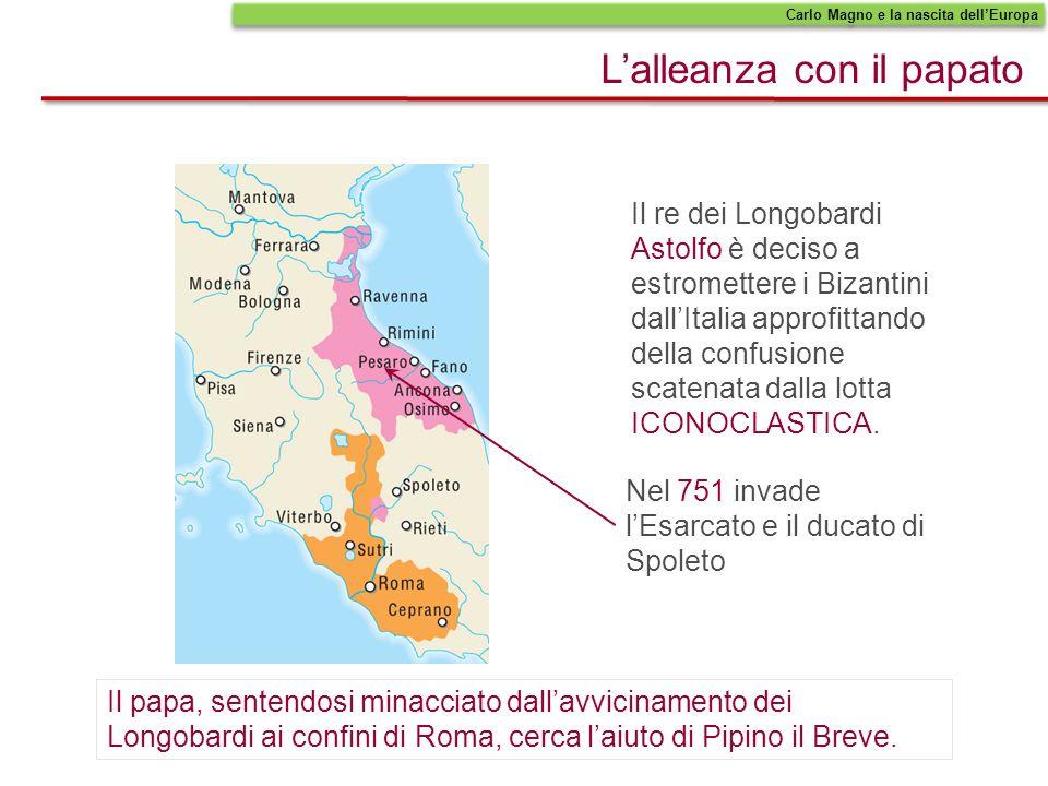 Pipino il Breve obbliga Astolfo a cedere i territori conquistati al papato.