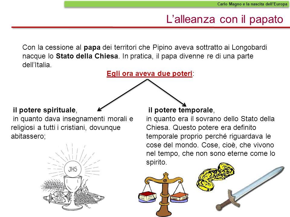 Lalleanza con il papato Carlo Magno e la nascita dellEuropa Con la cessione al papa dei territori che Pipino aveva sottratto ai Longobardi nacque lo S