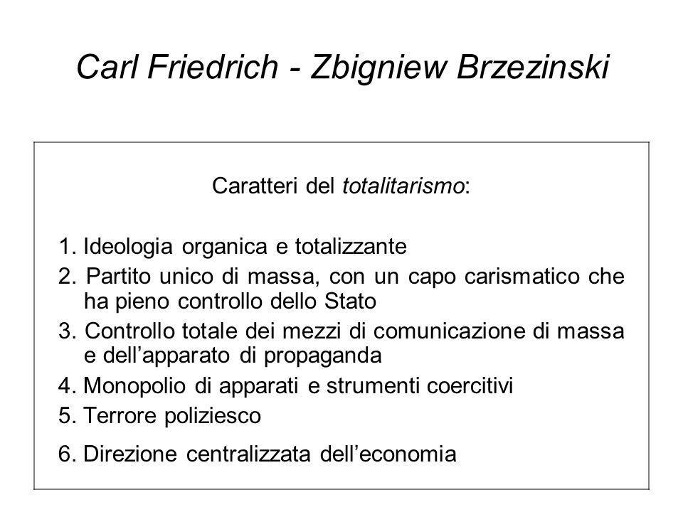 Carl Friedrich - Zbigniew Brzezinski Caratteri del totalitarismo: 1.
